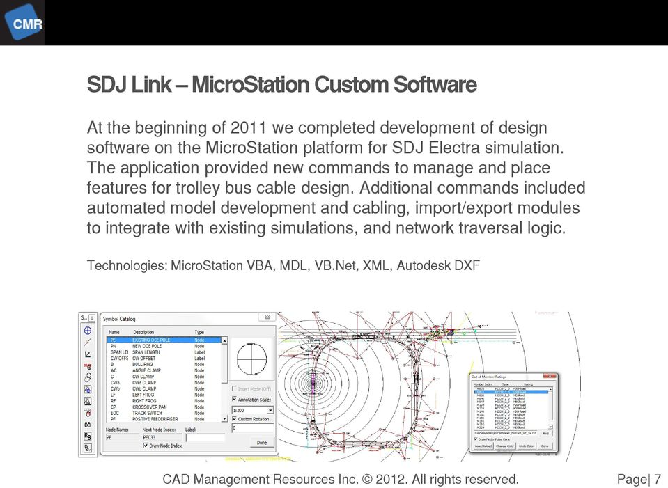 The application provided new commands to manage and place features for trolley bus cable design.