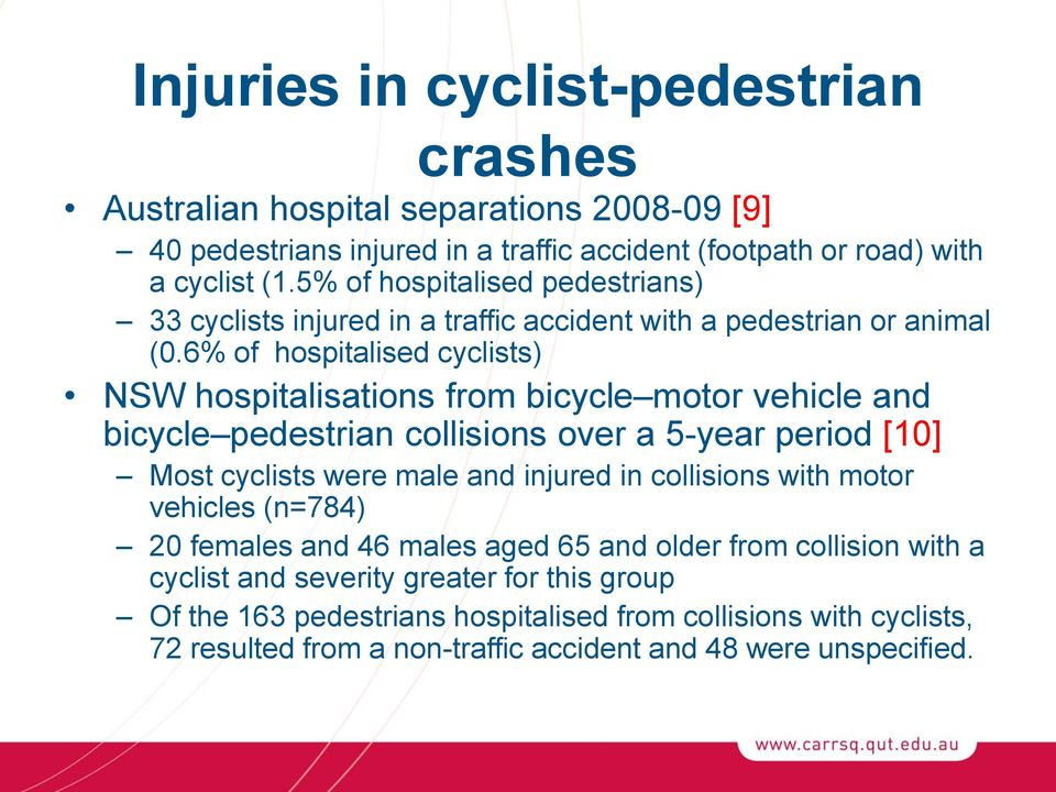 6% of hospitalised cyclists) NSW hospitalisations from bicycle motor vehicle and bicycle pedestrian collisions over a 5-year period [10] Most cyclists were male and injured in
