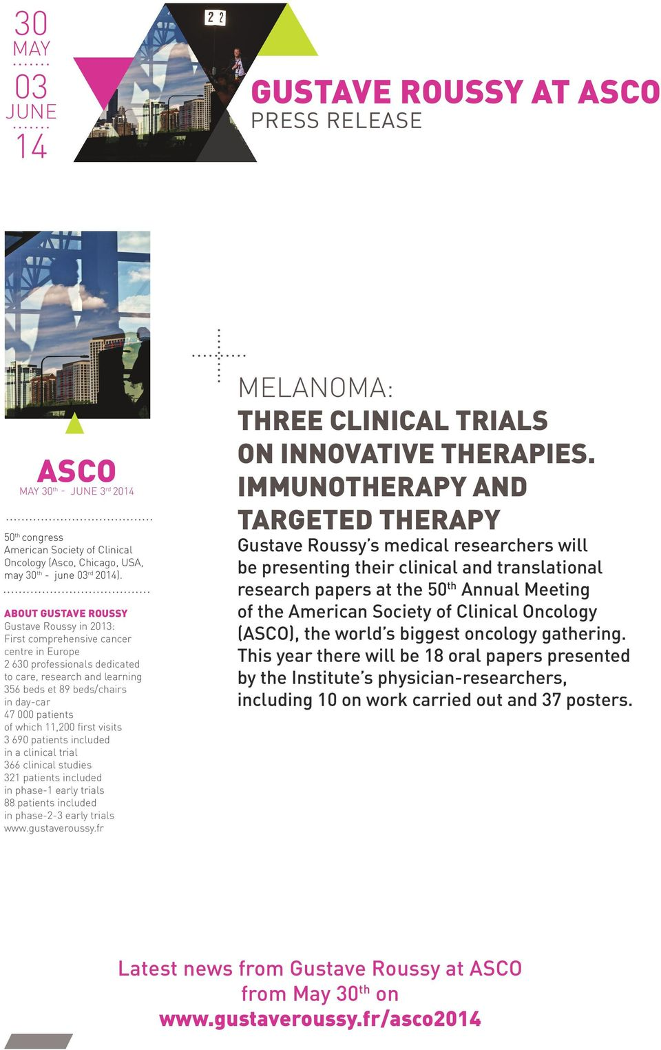 patients of which 11,200 first visits 3 690 patients included in a clinical trial 366 clinical studies 321 patients included in phase-1 early trials 88 patients included in phase-2-3 early trials www.