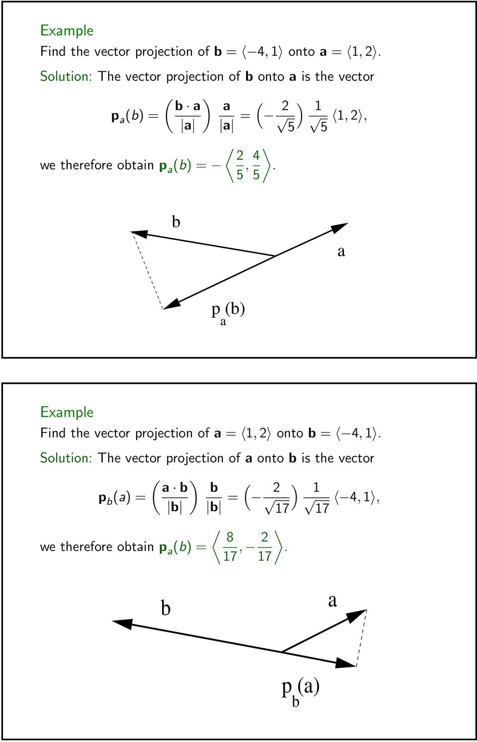 therefore obtain p a (b) = 5, 4. 5 b a p (b) a Example Find the vector projection of a = 1, 2 onto b = 4, 1.