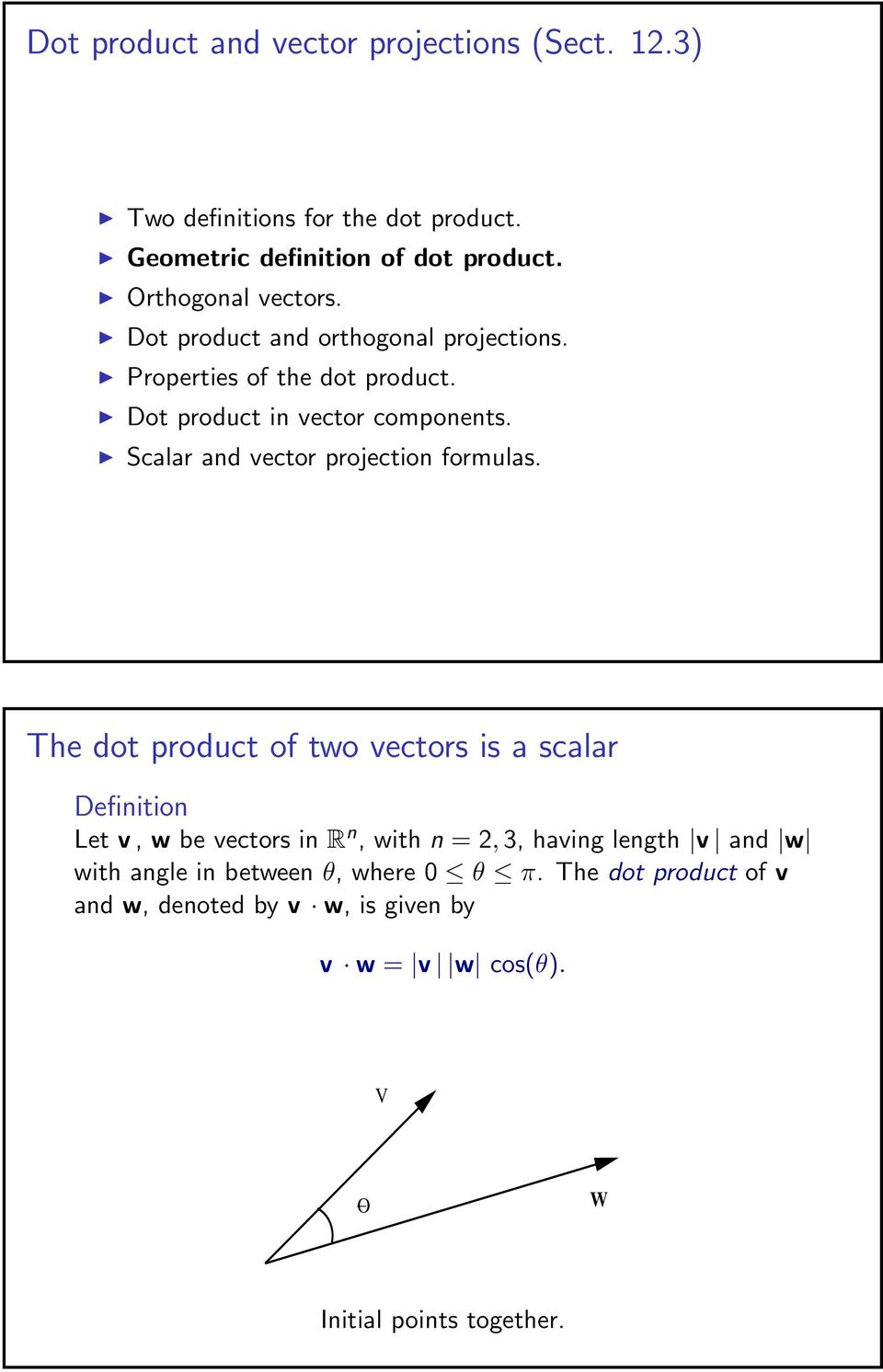 Scalar and vector projection formulas.