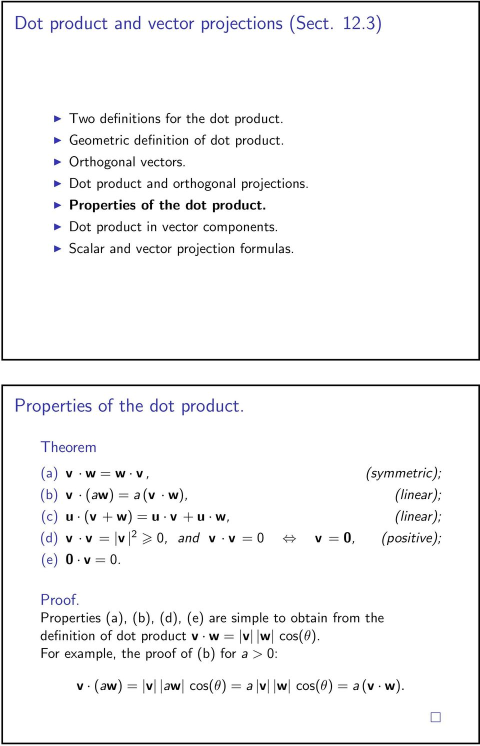 Properties of the dot product.
