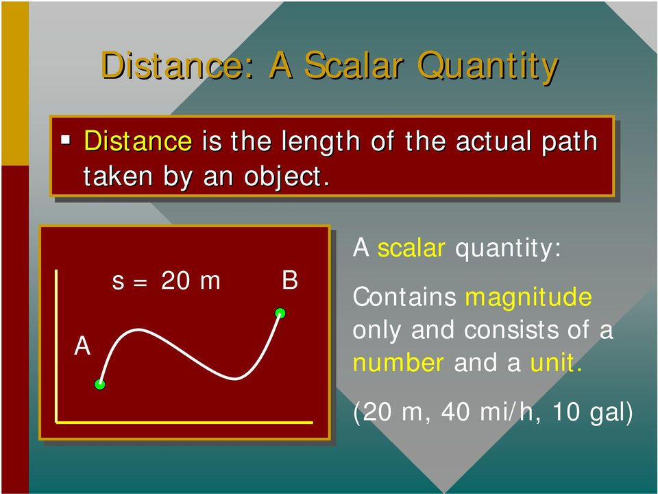 A s = 20 m B A scalar quantity: Contains magnitude