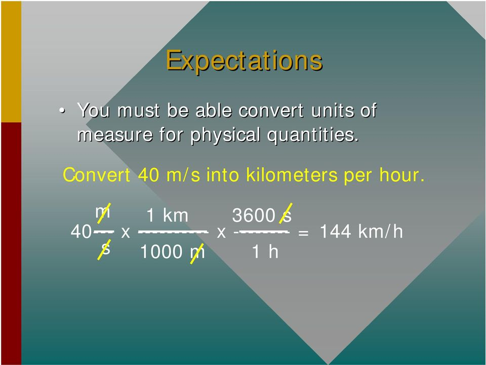 Convert 40 m/s into kilometers per hour.