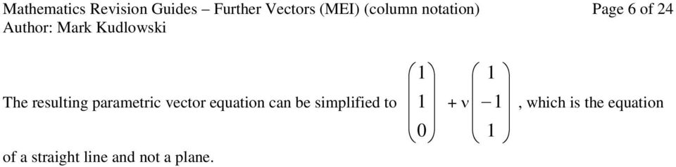 parametric vector equation can be simplified to