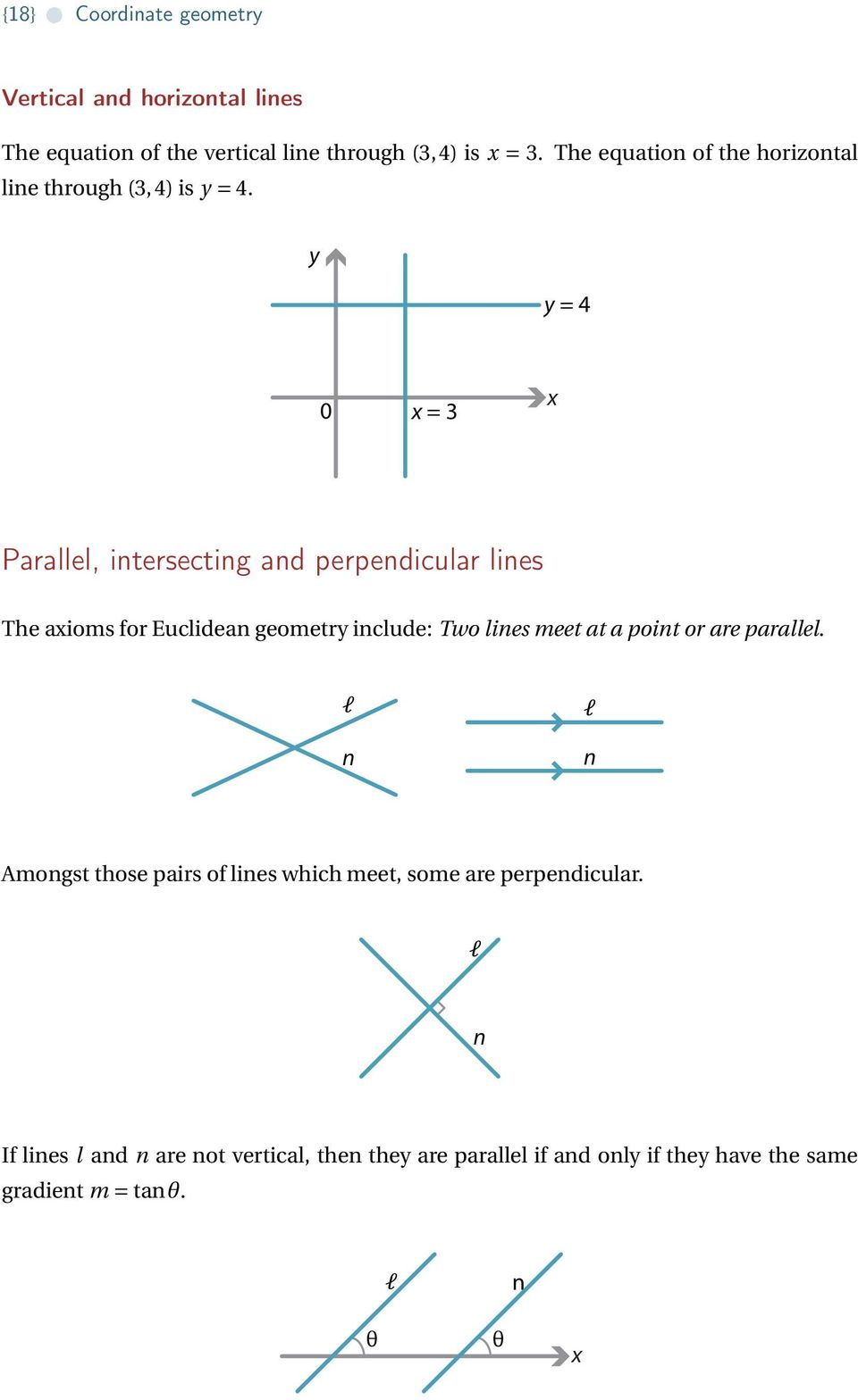 = 4 = 3 Parallel, intersecting and perpendicular lines The aioms for Euclidean geometr include: Two lines meet at a point or
