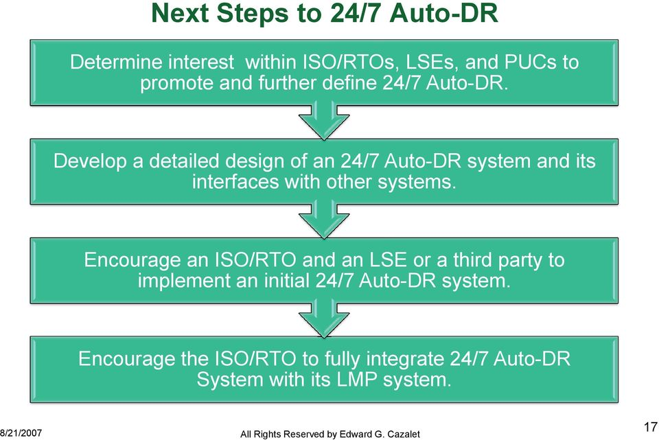 Develop a detailed design of an 24/7 Auto-DR system and its interfaces with other systems.