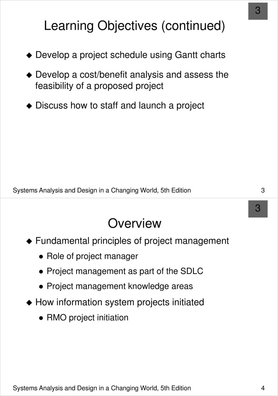 Edition Overview Fundamental principles of project management Role of project manager Project management as part of the SDLC Project