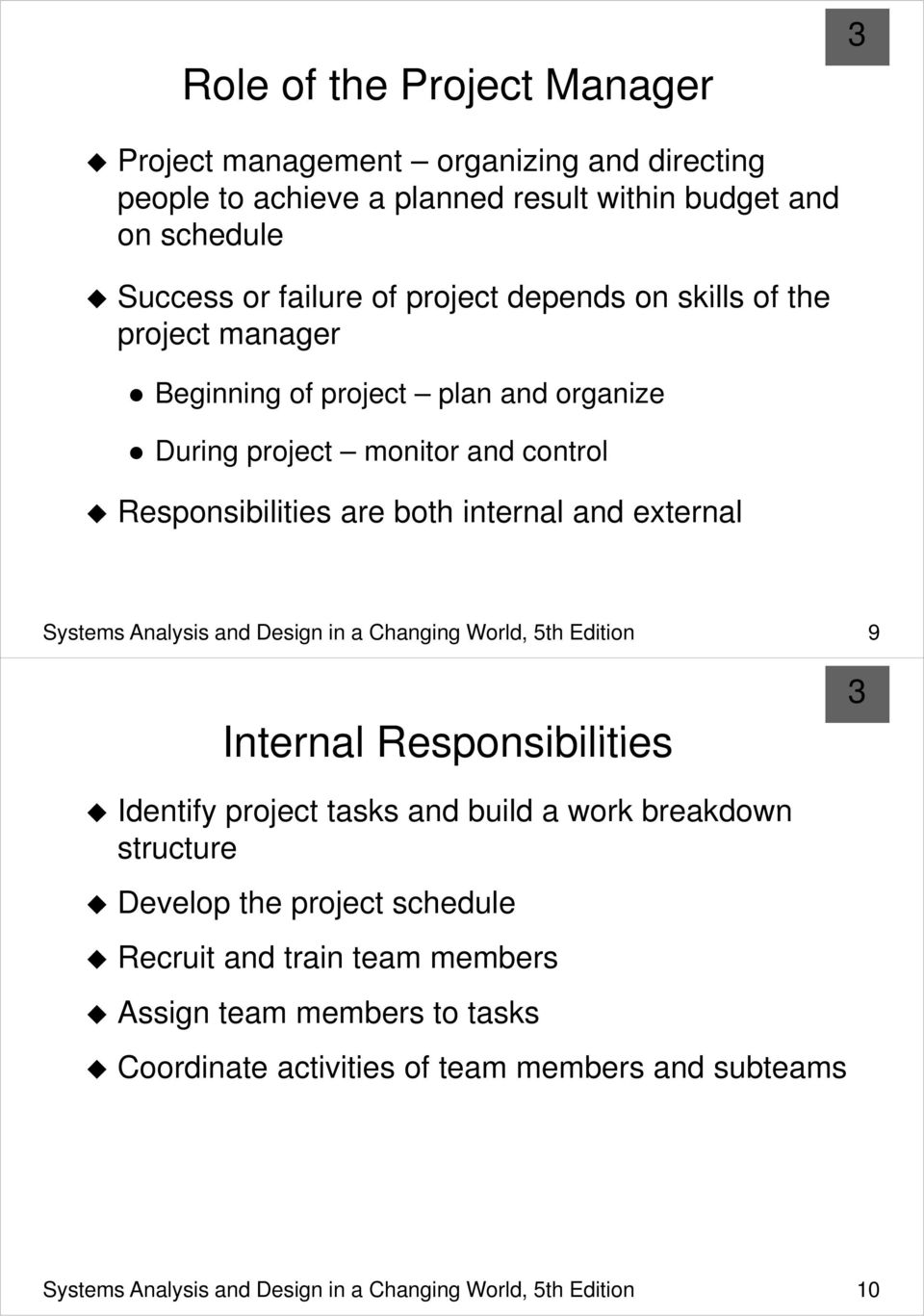 Analysis and Design in a Changing World, 5th Edition 9 Internal Responsibilities Identify project tasks and build a work breakdown structure Develop the project schedule