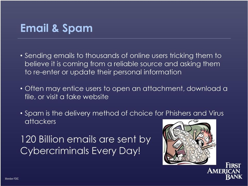 users to open an attachment, download a file, or visit a fake website Spam is the delivery method