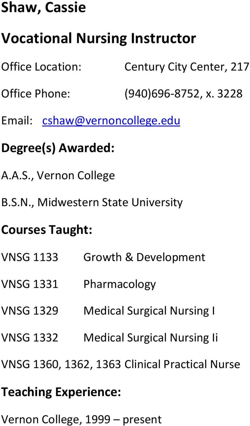 , Midwestern State University VNSG 1133 VNSG 1331 VNSG 1329 VNSG 1332 Growth & Development