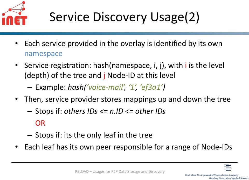 hash( voice-mail, 1, ef3a1 ) Then, service provider stores mappings up and down the tree Stops if: others IDs <= n.