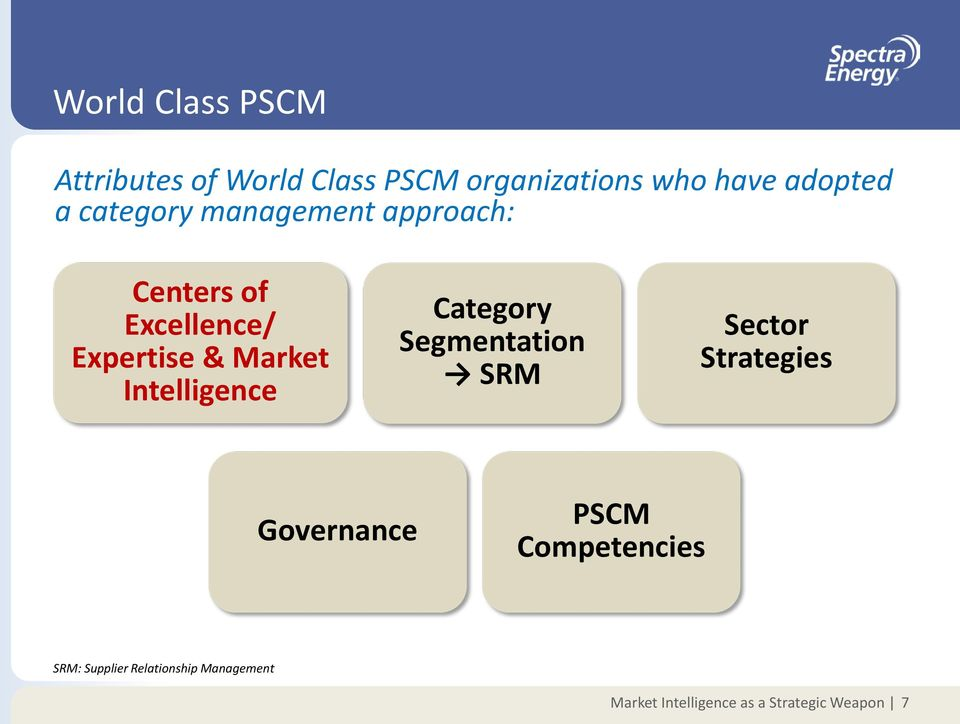 Intelligence Category Segmentation SRM Sector Strategies Governance PSCM