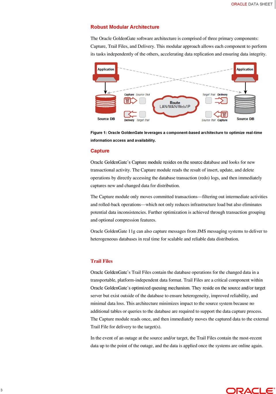 Figure 1: Oracle GldenGate leverages a cmpnent-based architecture t ptimize real-time infrmatin access and availability.