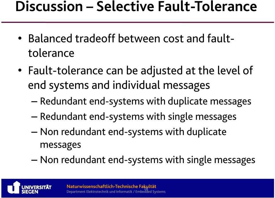 Redundant end-systems with duplicate messages Redundant end-systems with single messages
