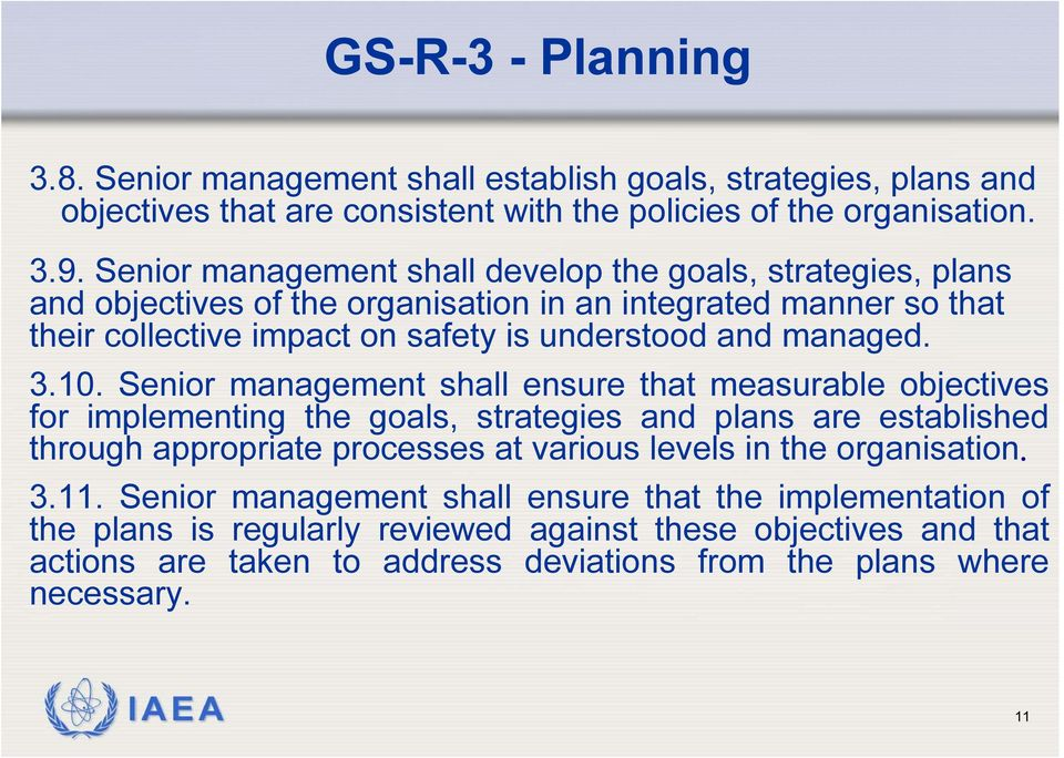 3.10. Senior management shall ensure that measurable objectives for implementing the goals, strategies and plans are established through appropriate processes at various levels in the