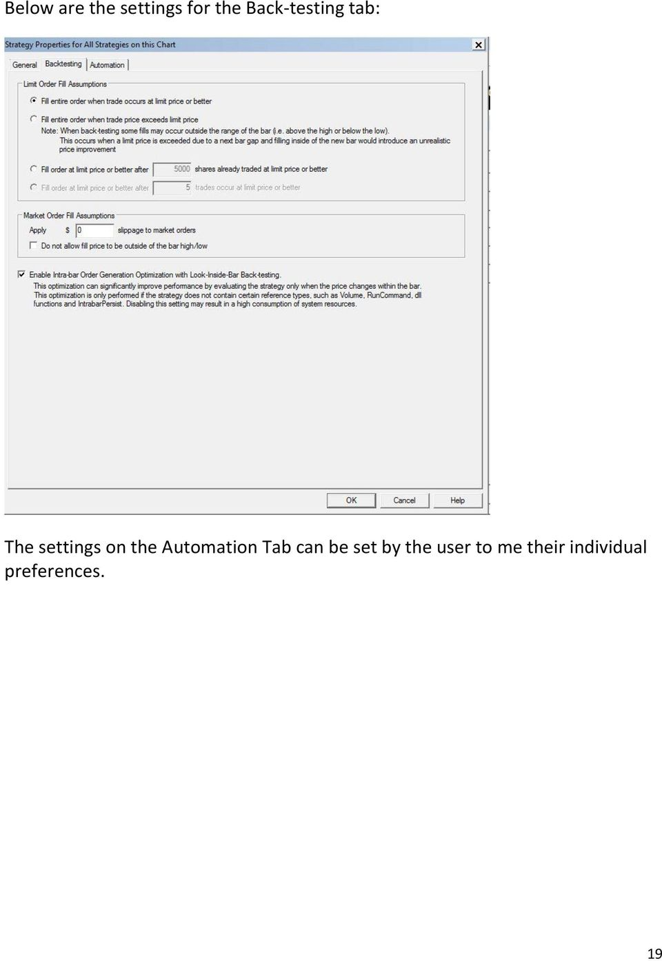 the Automation Tab can be set by the