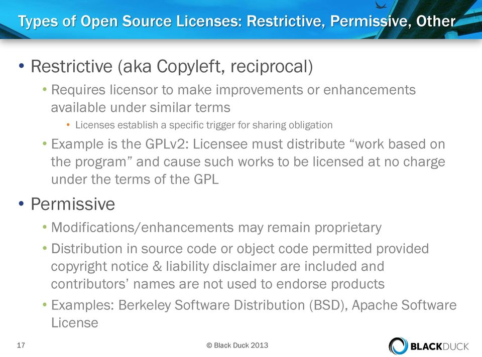 no charge under the terms of the GPL Permissive Modifications/enhancements may remain proprietary Distribution in source code or object code permitted provided copyright notice &