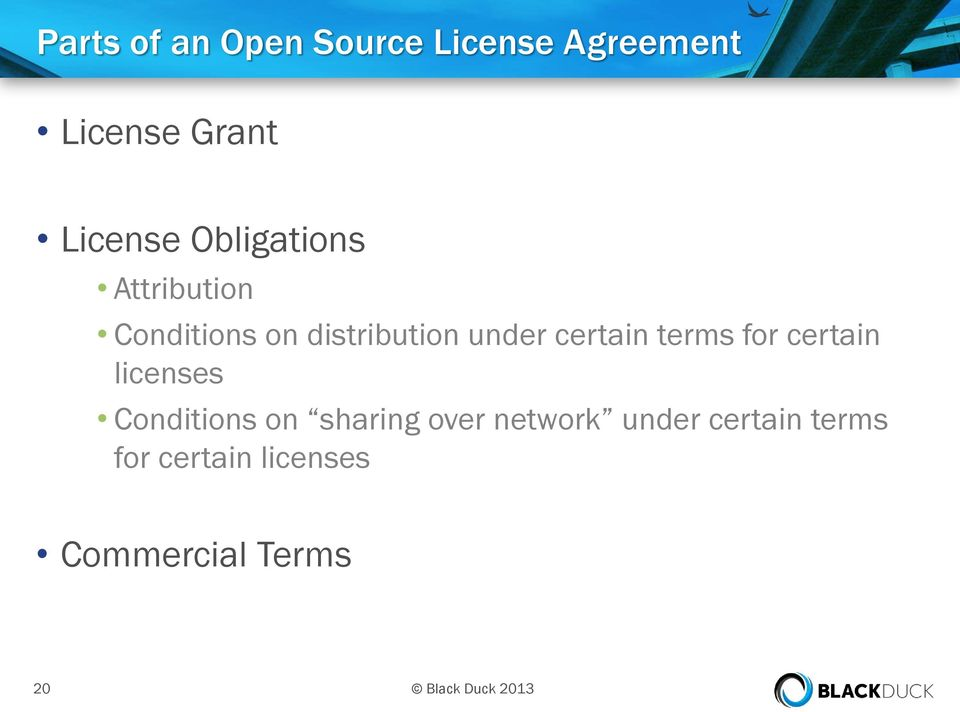 terms for certain licenses Conditions on sharing over network