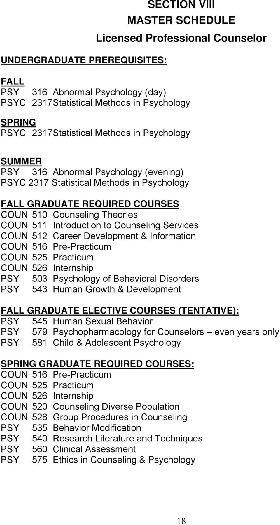 Introduction to Counseling Services COUN 512 Career Development & Information COUN 516 Pre-Practicum COUN 525 Practicum COUN 526 Internship PSY 503 Psychology of Behavioral Disorders PSY 543 Human