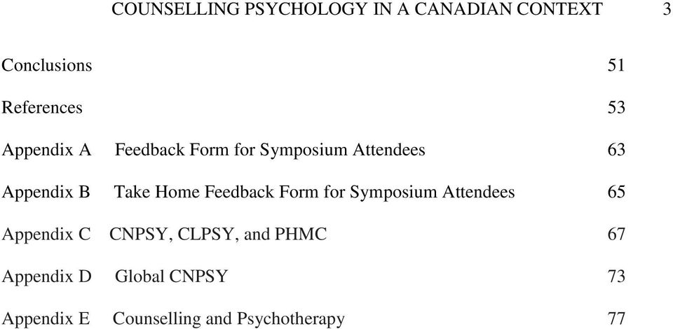 Home Feedback Form for Symposium Attendees 65 Appendix C CNPSY, CLPSY, and