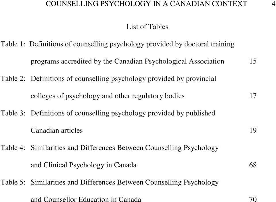 other regulatory bodies 17 Table 3: Definitions of counselling psychology provided by published Canadian articles 19 Table 4: Similarities and Differences
