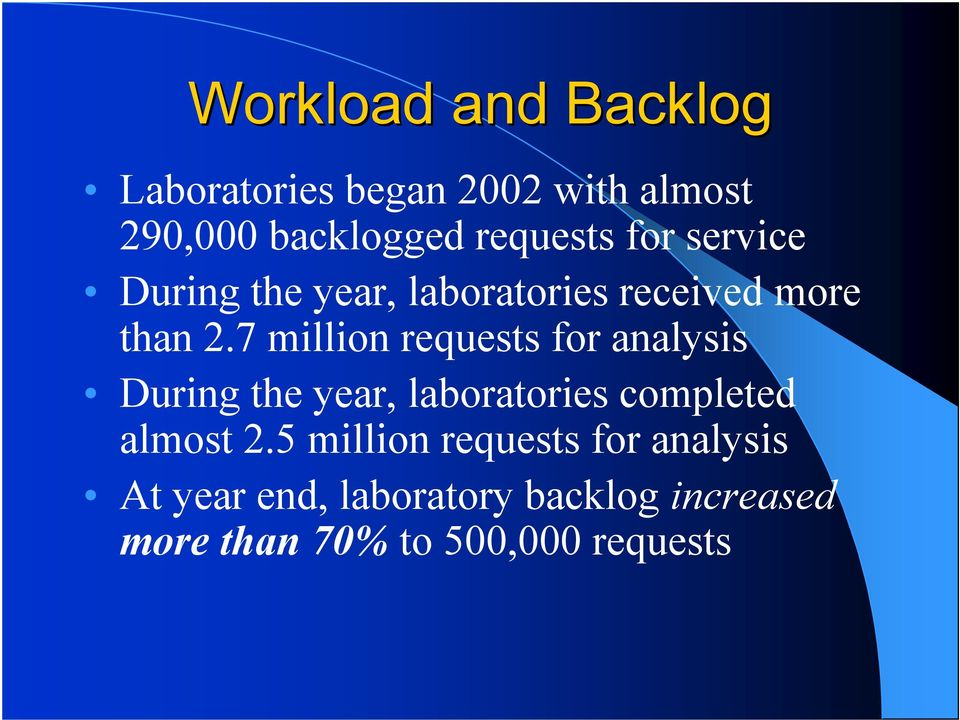 7 million requests for analysis During the year, laboratories completed almost 2.