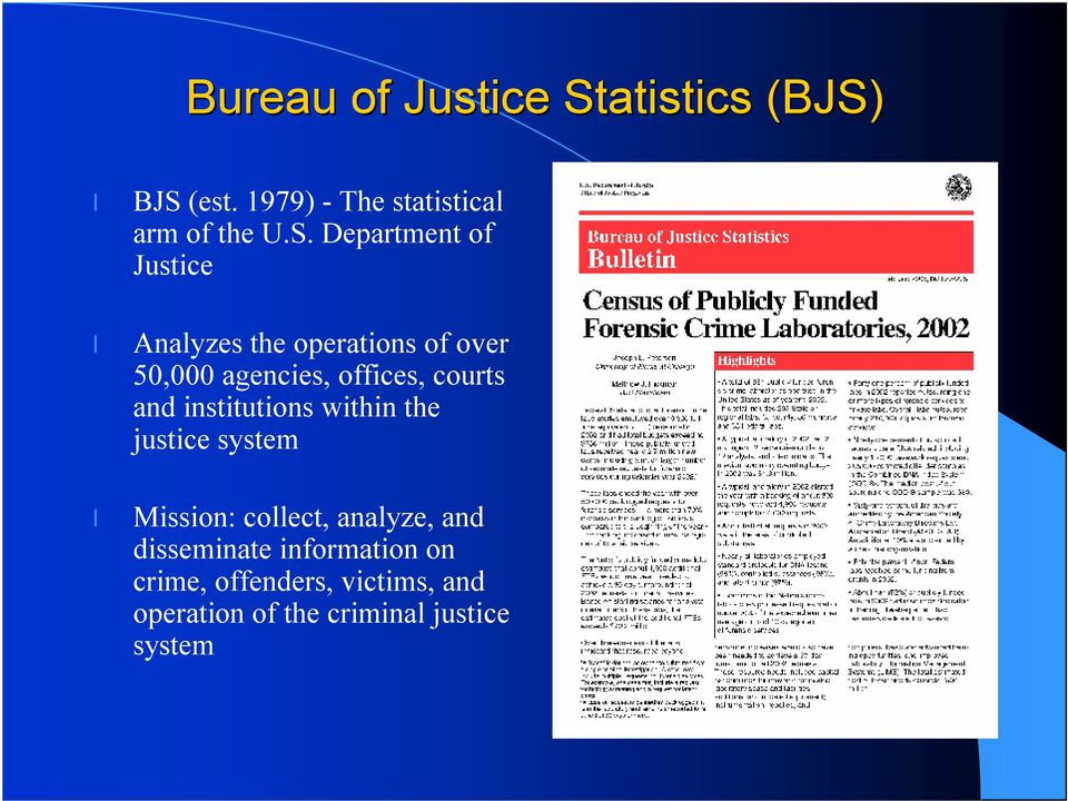 BJS (est. 1979) -The statistical arm of the U.S. Department of Justice Analyzes the
