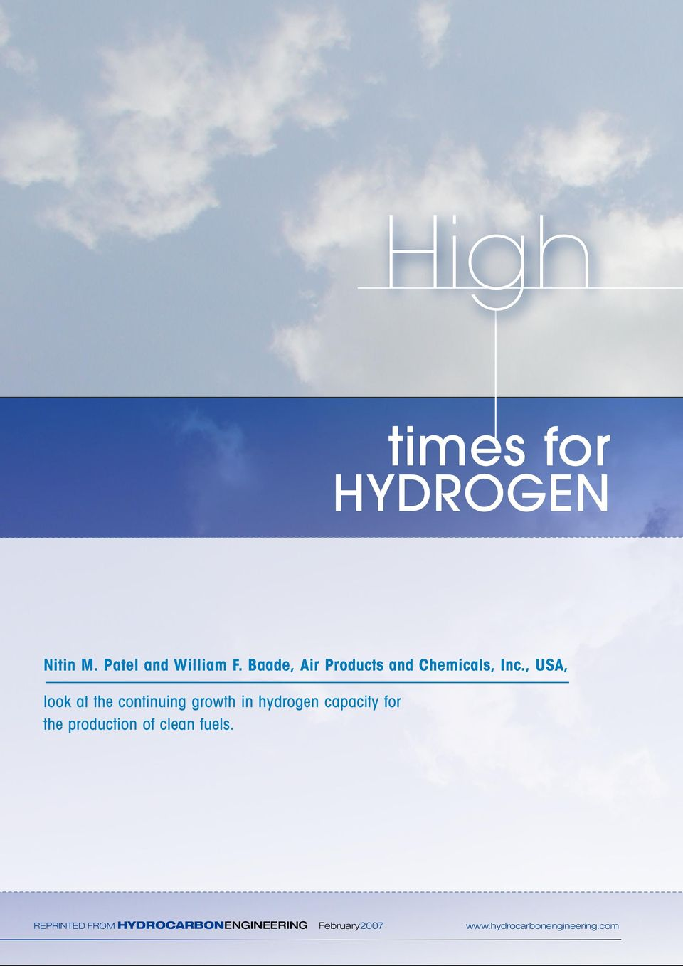 , USA, look at the continuing growth in hydrogen capacity