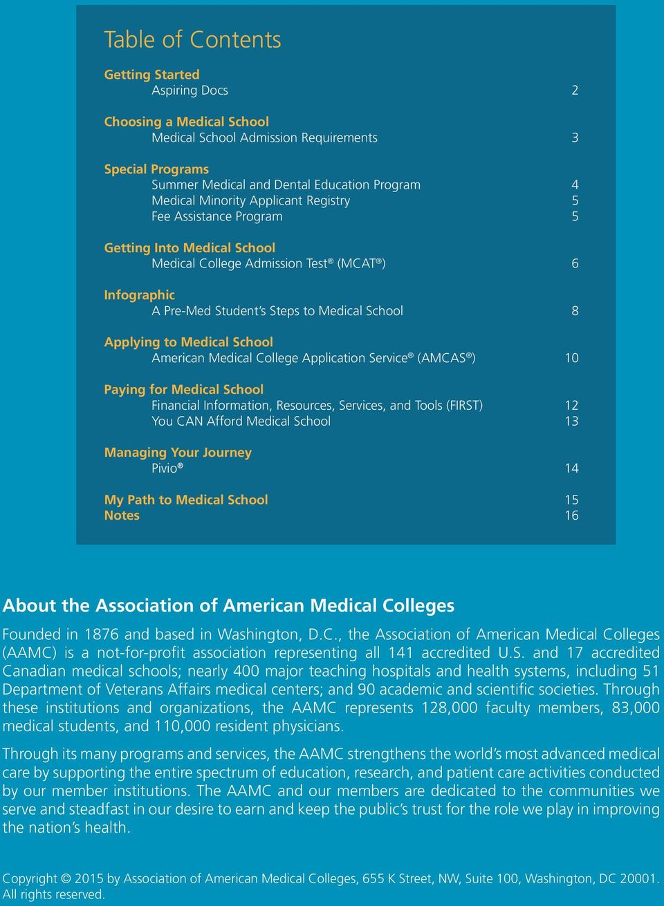 American Medical College Application Service (AMCAS ) 10 Paying for Medical School Financial Information, Resources, Services, and Tools (FIRST) 12 You CAN Afford Medical School 13 Managing Your