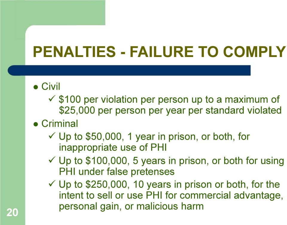 PHI Up to $100,000, 5 years in prison, or both for using PHI under false pretenses Up to $250,000, 10 years