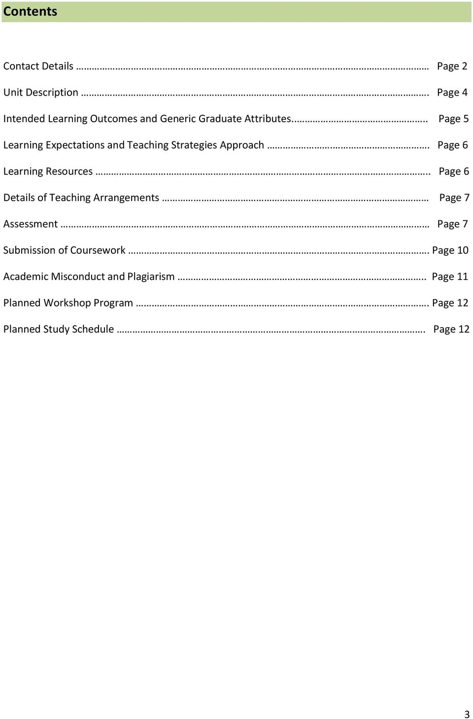 ... Page 5 Learning Expectations and Teaching Strategies Approach.. Page 6 Learning Resources.