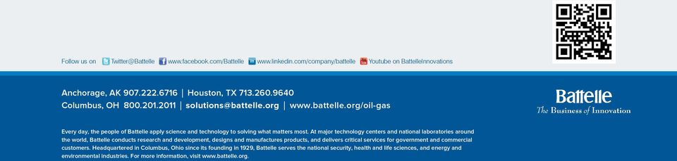 At major technology centers and national laboratories around the world, Battelle conducts research and development, designs and manufactures products, and delivers critical services for