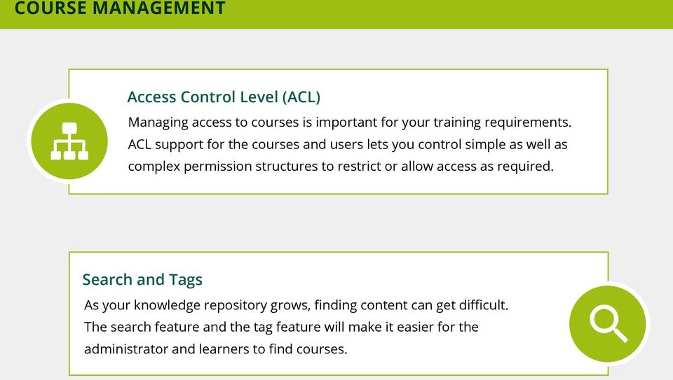 ACL support for the courses and users lets you control simple as well as complex permission structures to restrict or
