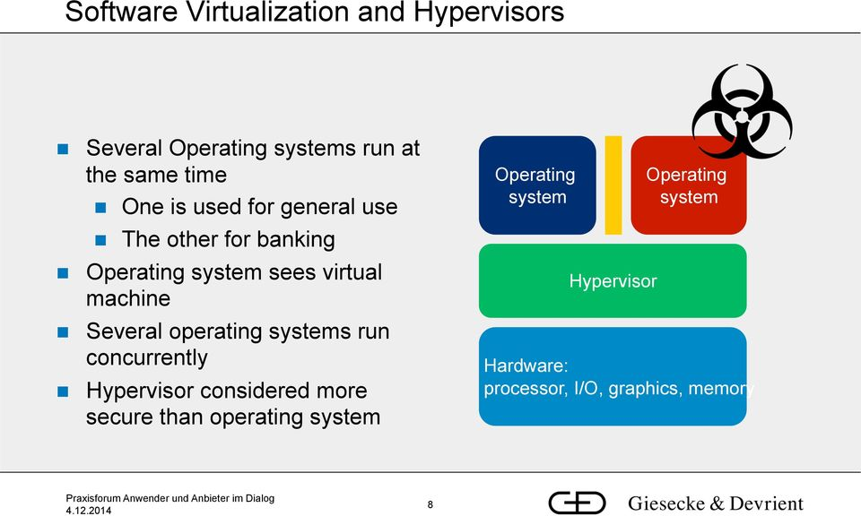 Several operating systems run concurrently Hypervisor considered more secure than