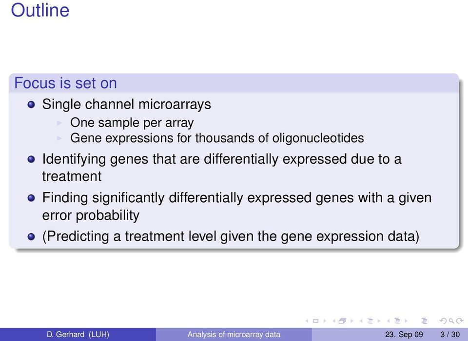Finding significantly differentially expressed genes with a given error probability (Predicting a
