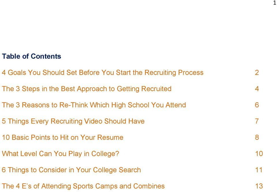 Every Recruiting Video Should Have 7 10 Basic Points to Hit on Your Resume 8 What Level Can You Play in