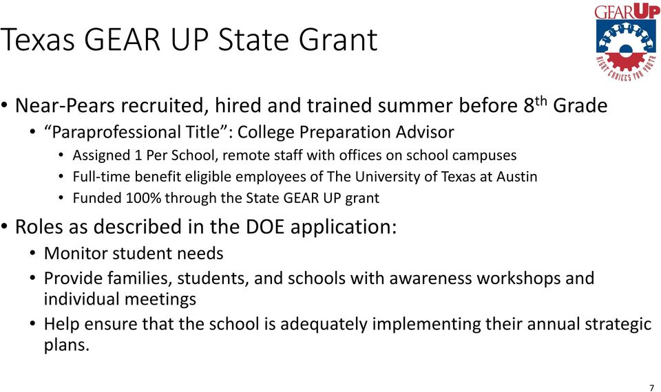 Austin Funded 100% through the State GEAR UP grant Roles as described in the DOE application: Monitor student needs Provide families,