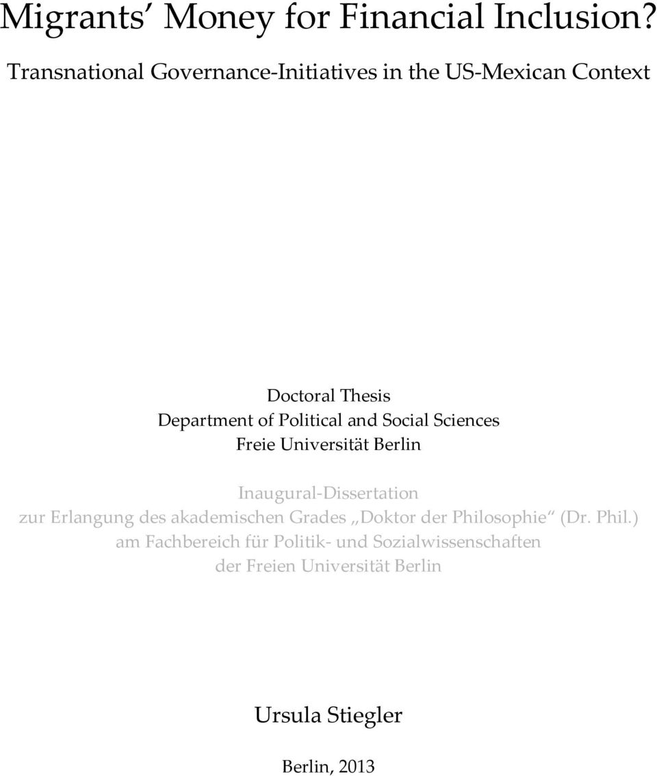 Political and Social Sciences Freie Universität Berlin Inaugural Dissertation zur Erlangung des