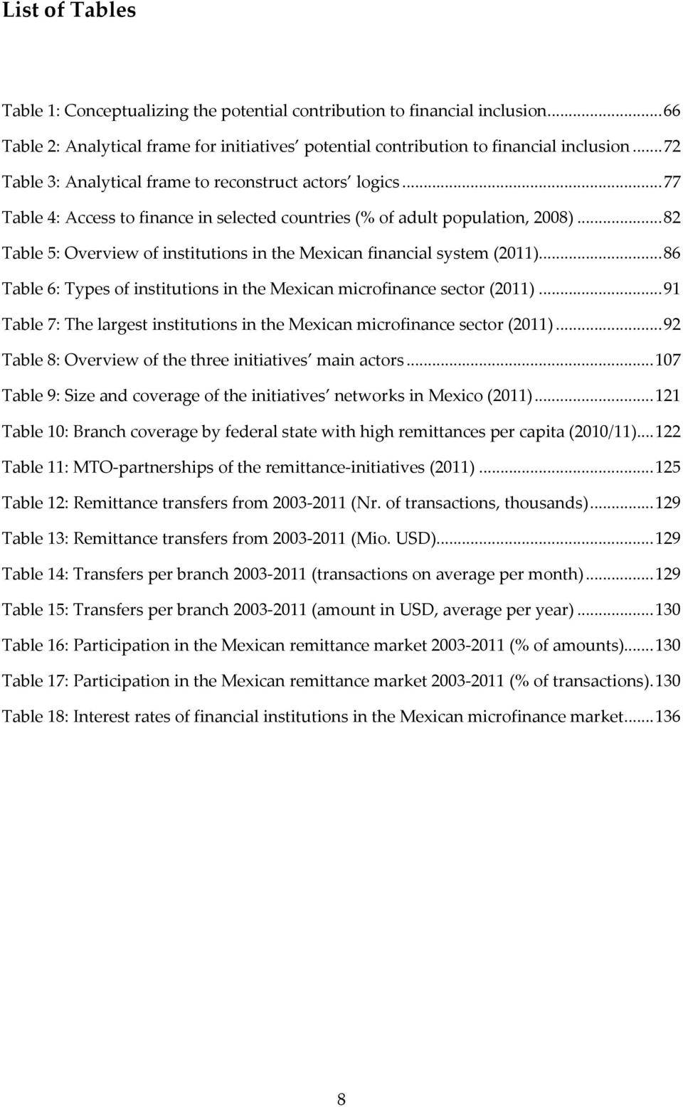 .. 82 Table 5: Overview of institutions in the Mexican financial system (2011)... 86 Table 6: Types of institutions in the Mexican microfinance sector (2011).