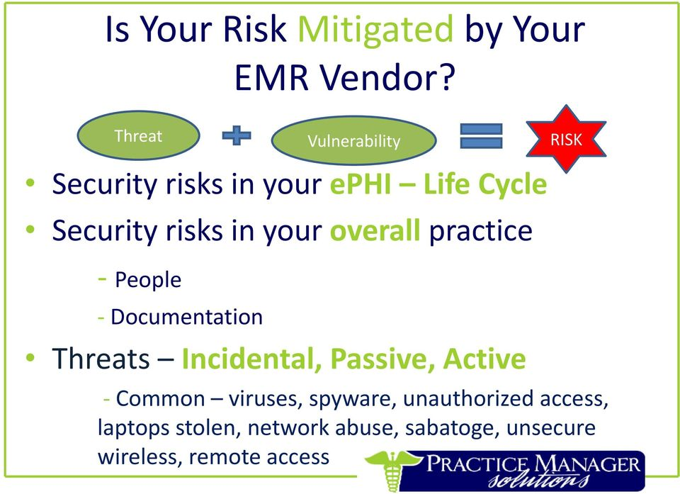 your overall practice - People - Documentation Threats Incidental, Passive, Active