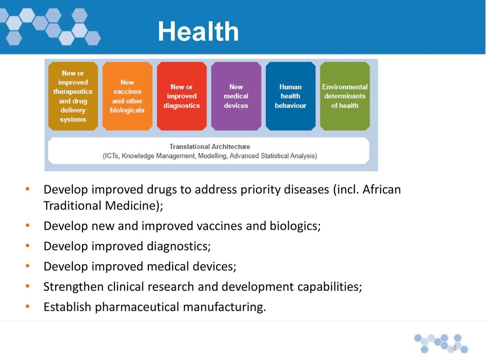 biologics; Develop improved diagnostics; Develop improved medical devices;