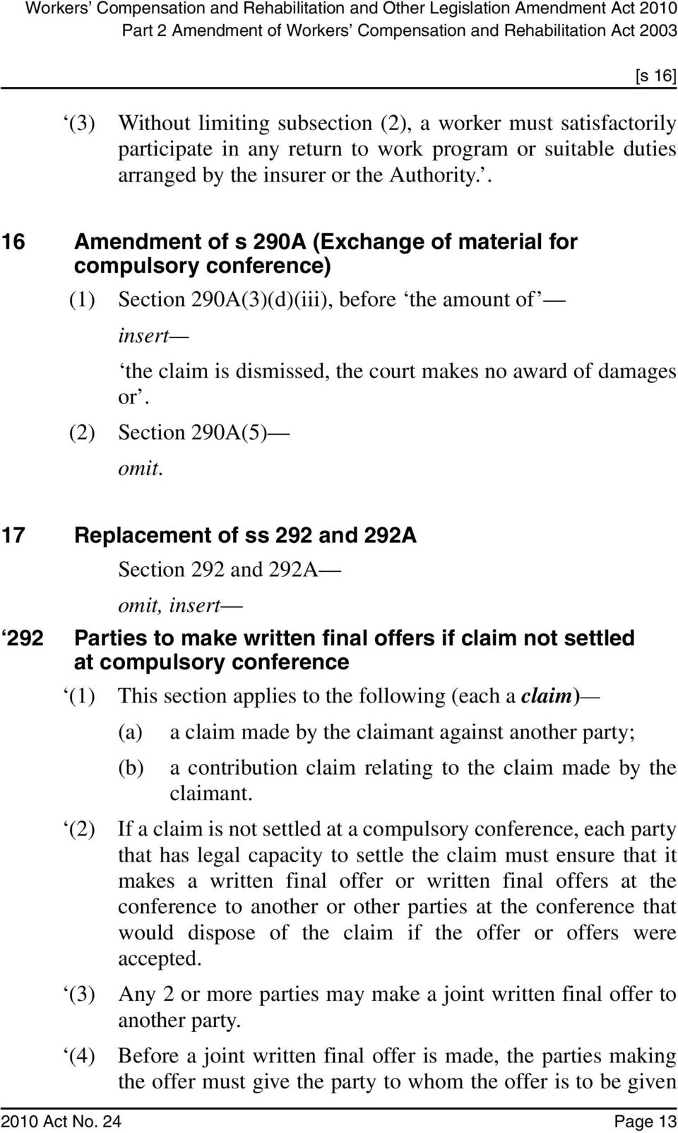 . 16 Amendment of s 290A (Exchange of material for compulsory conference) (1) Section 290A(3)(d)(iii), before the amount of insert the claim is dismissed, the court makes no award of damages or.