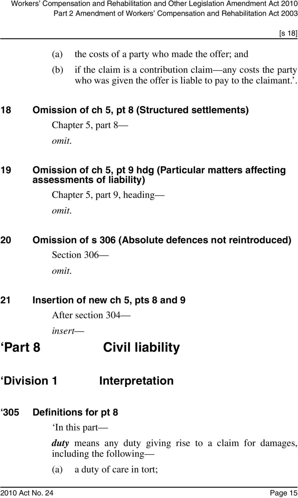 19 Omission of ch 5, pt 9 hdg (Particular matters affecting assessments of liability) Chapter 5, part 9, heading omit. 20 Omission of s 306 (Absolute defences not reintroduced) Section 306 omit.
