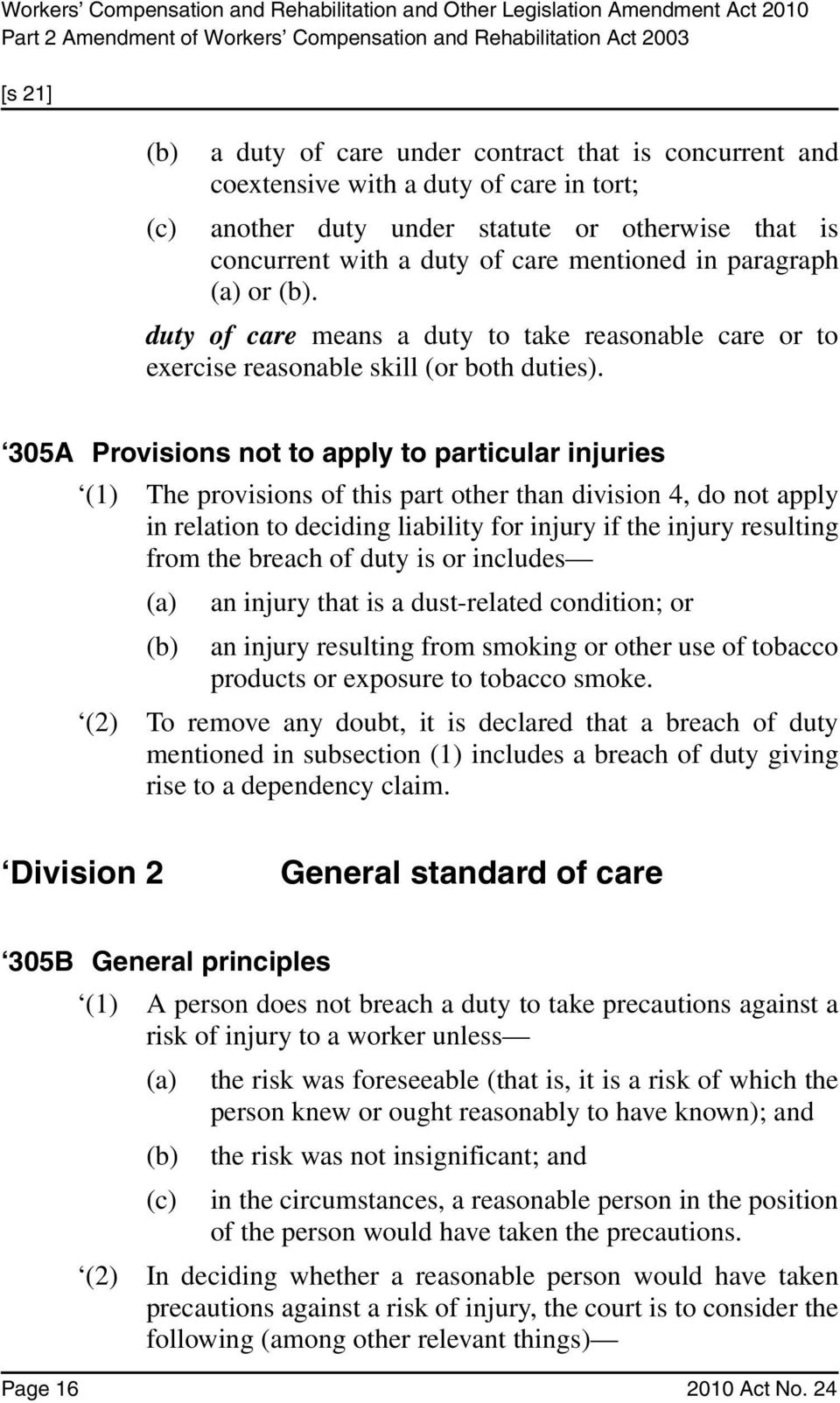 305A Provisions not to apply to particular injuries (1) The provisions of this part other than division 4, do not apply in relation to deciding liability for injury if the injury resulting from the