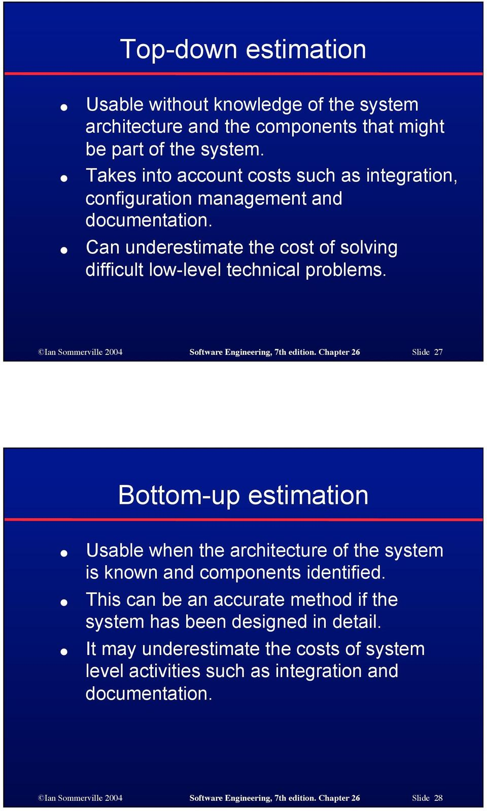 Ian Sommerville 2004 Software Engineering, 7th edition. Chapter 26 Slide 27 Bottom-up estimation Usable when the architecture of the system is known and components identified.