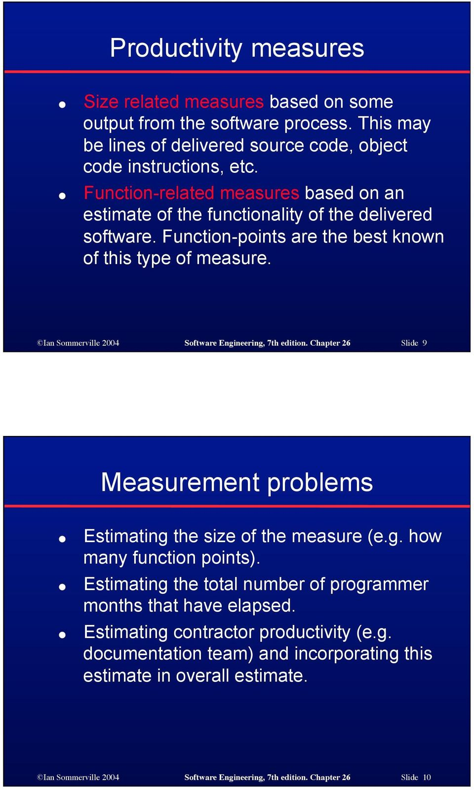 Ian Sommerville 2004 Software Engineering, 7th edition. Chapter 26 Slide 9 Measurement problems Estimating the size of the measure (e.g. how many function points).