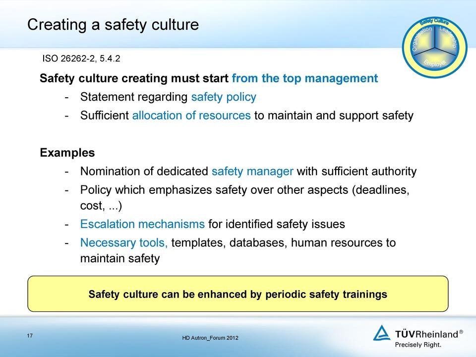 maintain and support safety Examples - Nomination of dedicated safety manager with sufficient authority - Policy which emphasizes safety