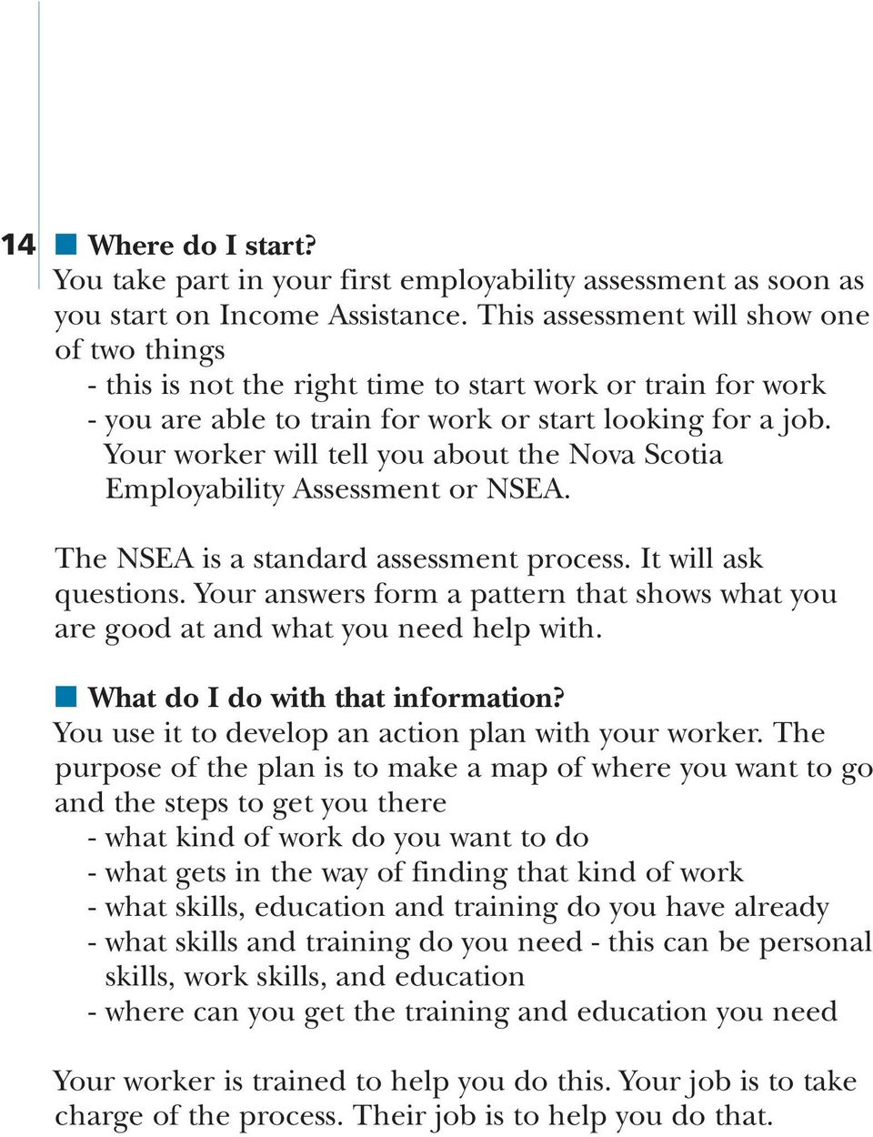 Your worker will tell you about the Nova Scotia Employability Assessment or NSEA. The NSEA is a standard assessment process. It will ask questions.