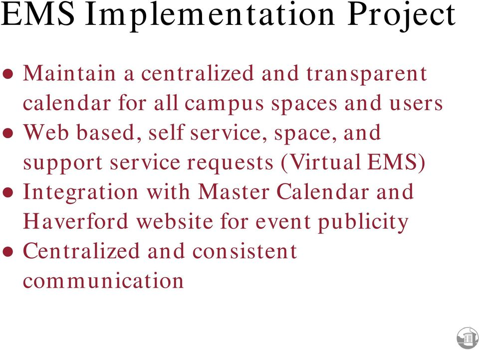 support service requests (Virtual EMS) Integration with Master Calendar